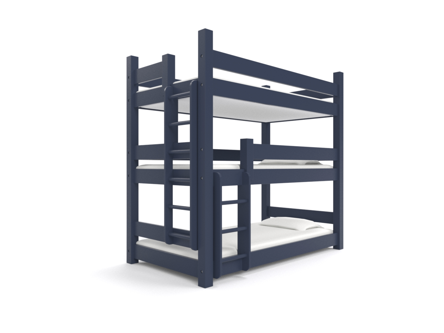 """ KATAHDIN "" Triple Twin -  A triple decker for a bunk room. Holds three 75"" long twin beds. Options include extra headroom, extra safety rails, ""porthole"" ladders and extra length. Made to hold adults!  Starting at $3395:   Click for Custom Quote"