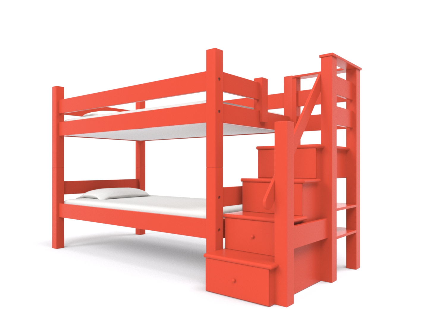 BUNK BED w/ STAIRCASE  -  An attached staircase with four built-in storage drawers that serve as steps to upper bunk. Available on all sizes of bunk beds and lofts. Made to hold adults!  Bunk Bed + Staircase: $3995:   Click for Custom Quote