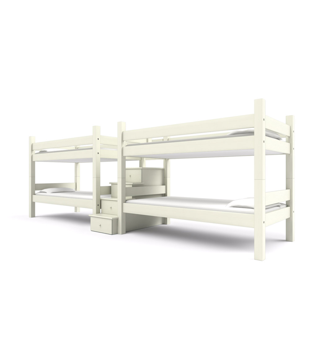 """ FORESIDE "" Quadruple Twin -  Perfect for homes that need a bunk room for friends and family. Two sets of Twin bunk beds are joined by a center staircase. Made to hold adults!  Starting at $6495:   Click for Custom Quote"