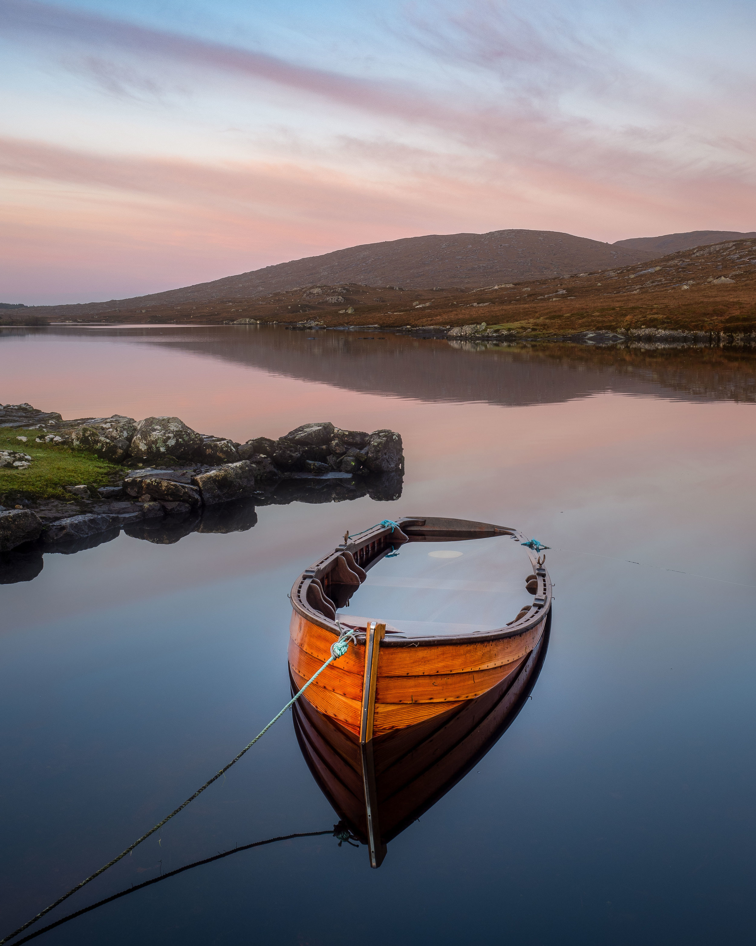 A sunken boat on one of Connemara's Lakes