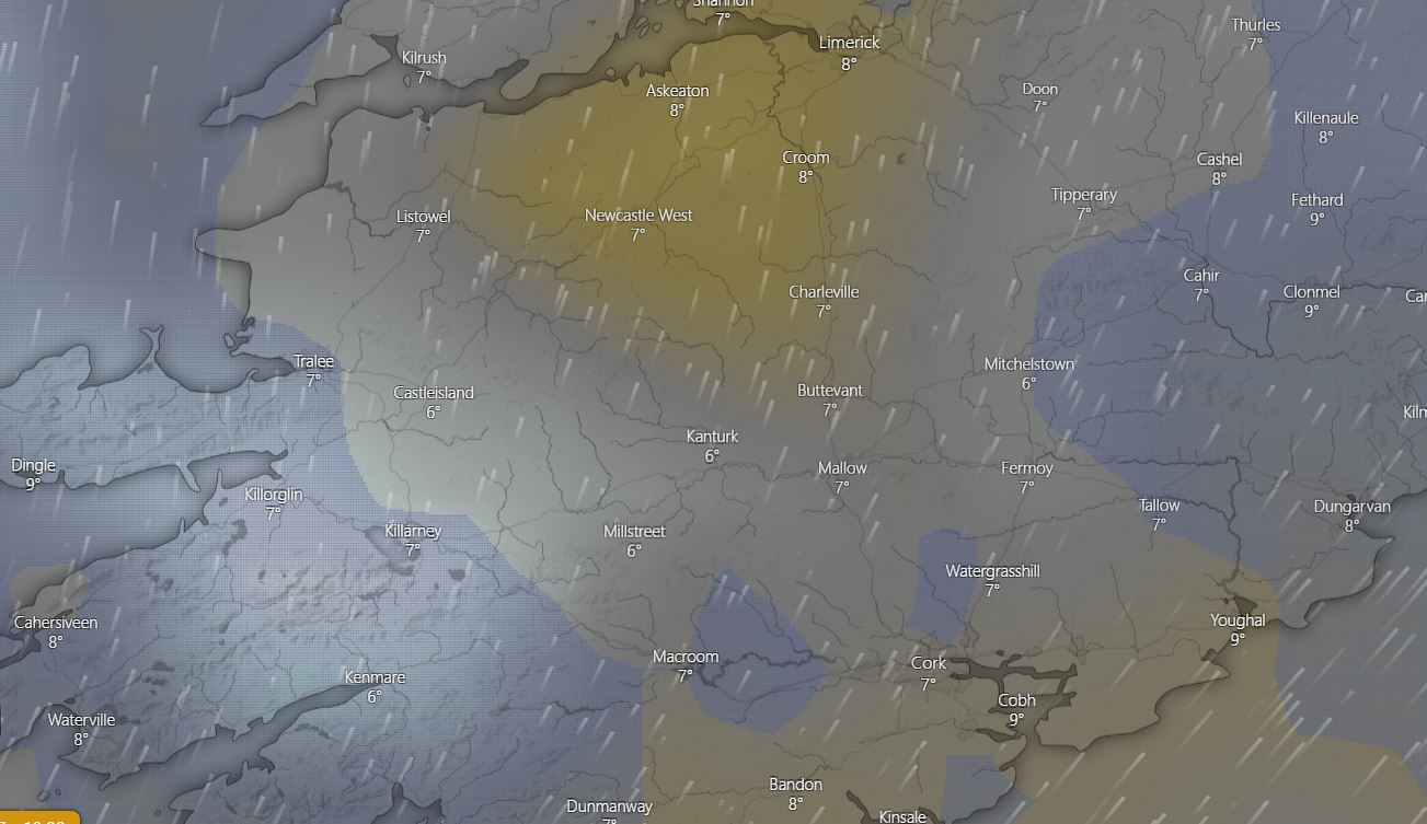 Low cloud map over Ireland at the time of writing this