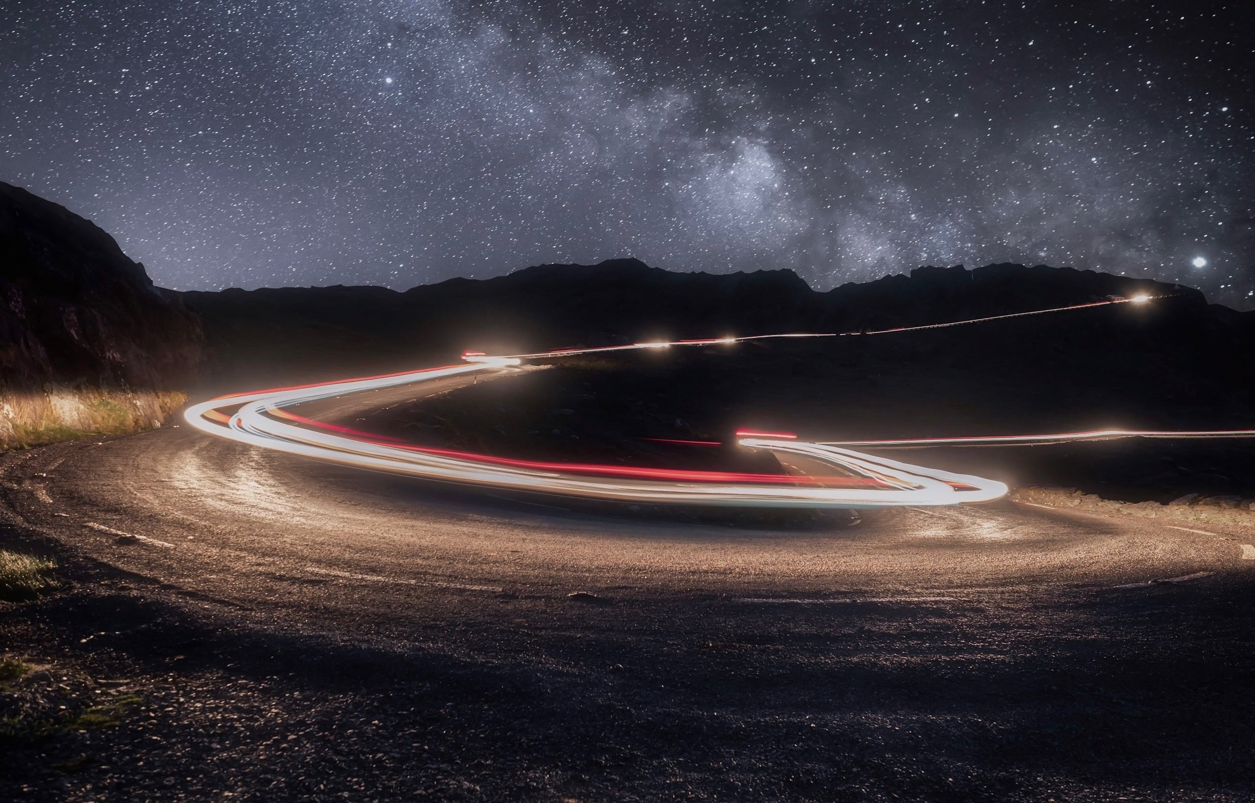 Composite image where I combined Light trails with a Milky Way image. Light trails shot using live composite mode on my Em1 Mark 2. Milky Way was a stack of 10 images shot at ISO 2000, 20 seconds shutter speed.