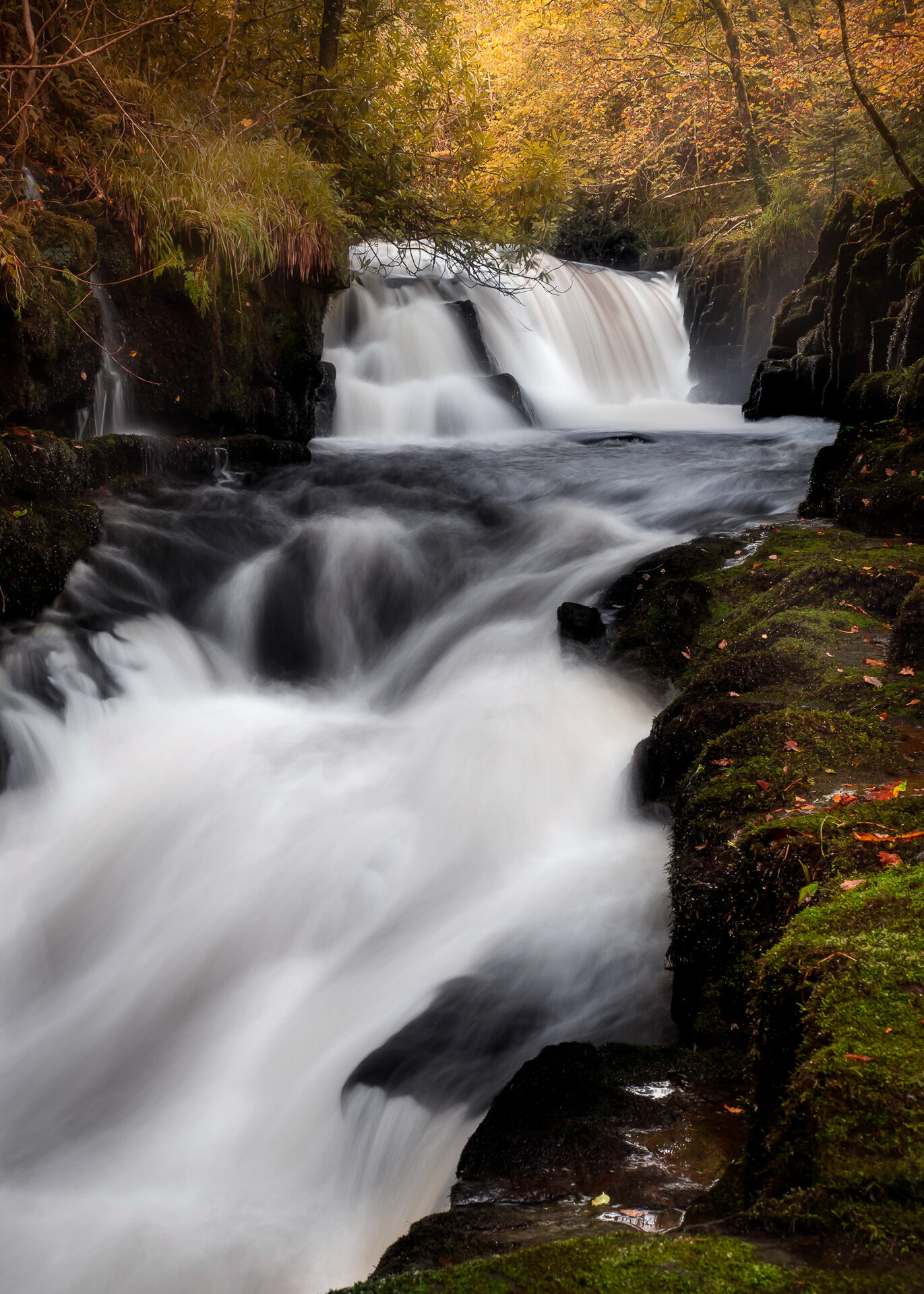 Autumn Falls: Shot at 24mm to give some compression and make that waterfall appear larger in the frame.