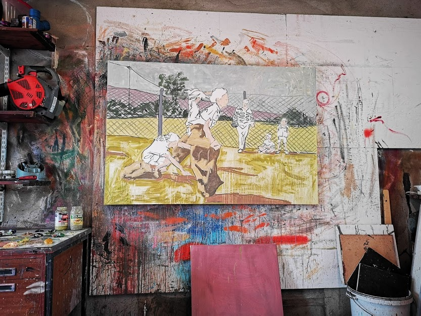 "Studio shot of ""Sack Race"" in progress"