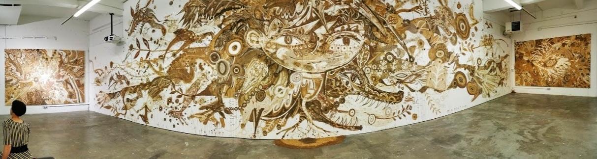 Yusuke Asai's amazing installation in the Golden Thread Gallery