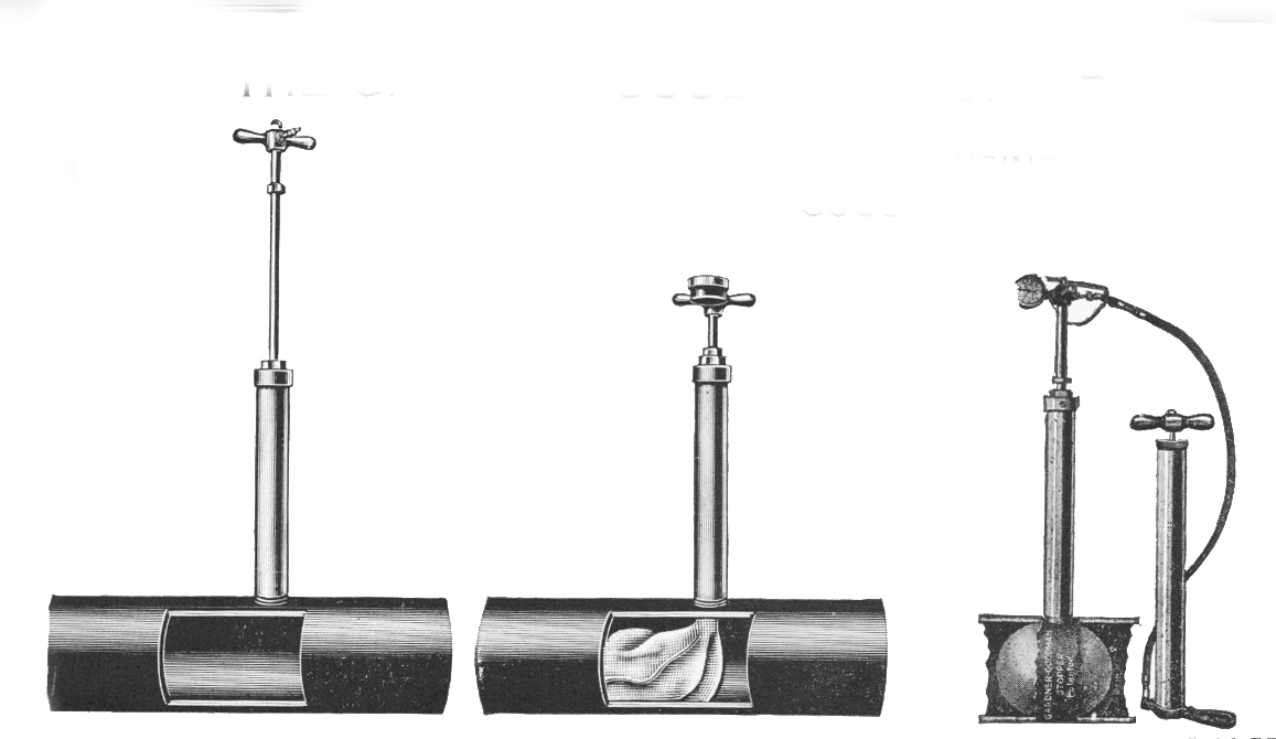 In this illustration, the  Gardner-Goodman Stopper  to the far right is shown being inflated with a STEEL PUMP (available for you to order).