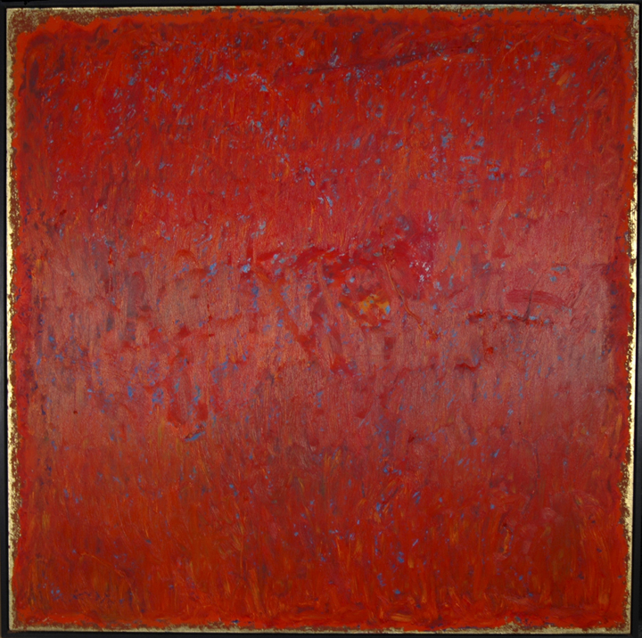 """Poetry in Red   Oil, Gold Leaf on Panel  50X50"""", 152.4X152.4 cm"""