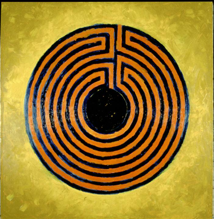 "Lady Labyrinth   Oil on Panel  50X50"", 152.4X152.4 cm"