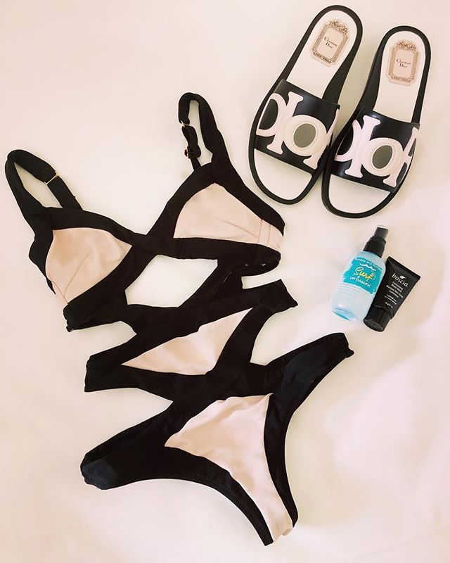 ✨South of France Essentials✨ • 🇫🇷ONE: @agentprovocateur bathing suit that's a one-piece to strap it all in but also a cut-out so I can still look cute ✅ 🇫🇷TWO: @dior slides to show off the pedi ✅ 🇫🇷THREE: @bumbleandbumble Surf Infusion for beachy hair ✅ 🇫🇷FOUR: @boscia Luminizing Black Mask so I don't break out from all the cheese ✅