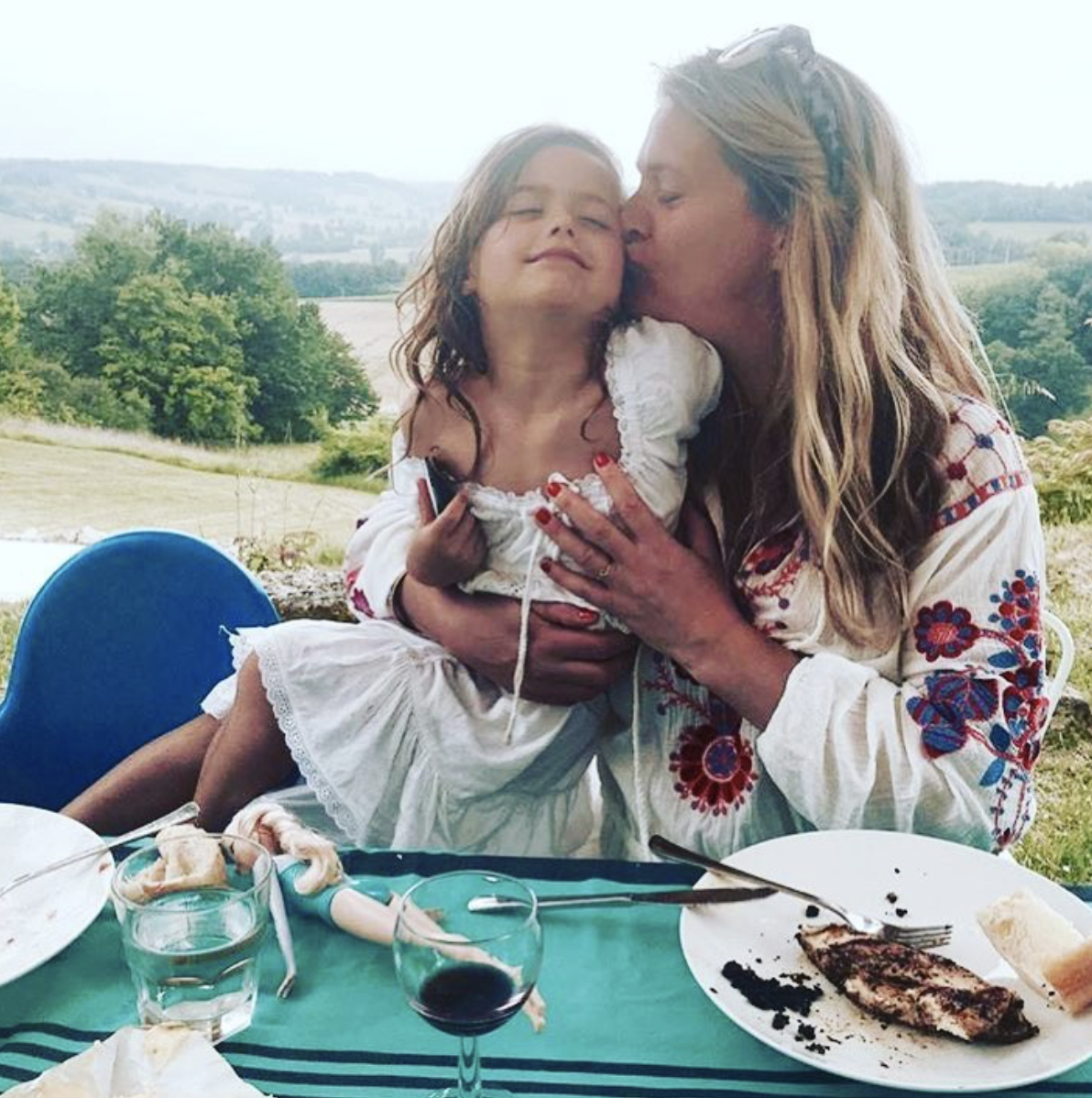 Damaris Evans with daughter Kitty at her south west France family home