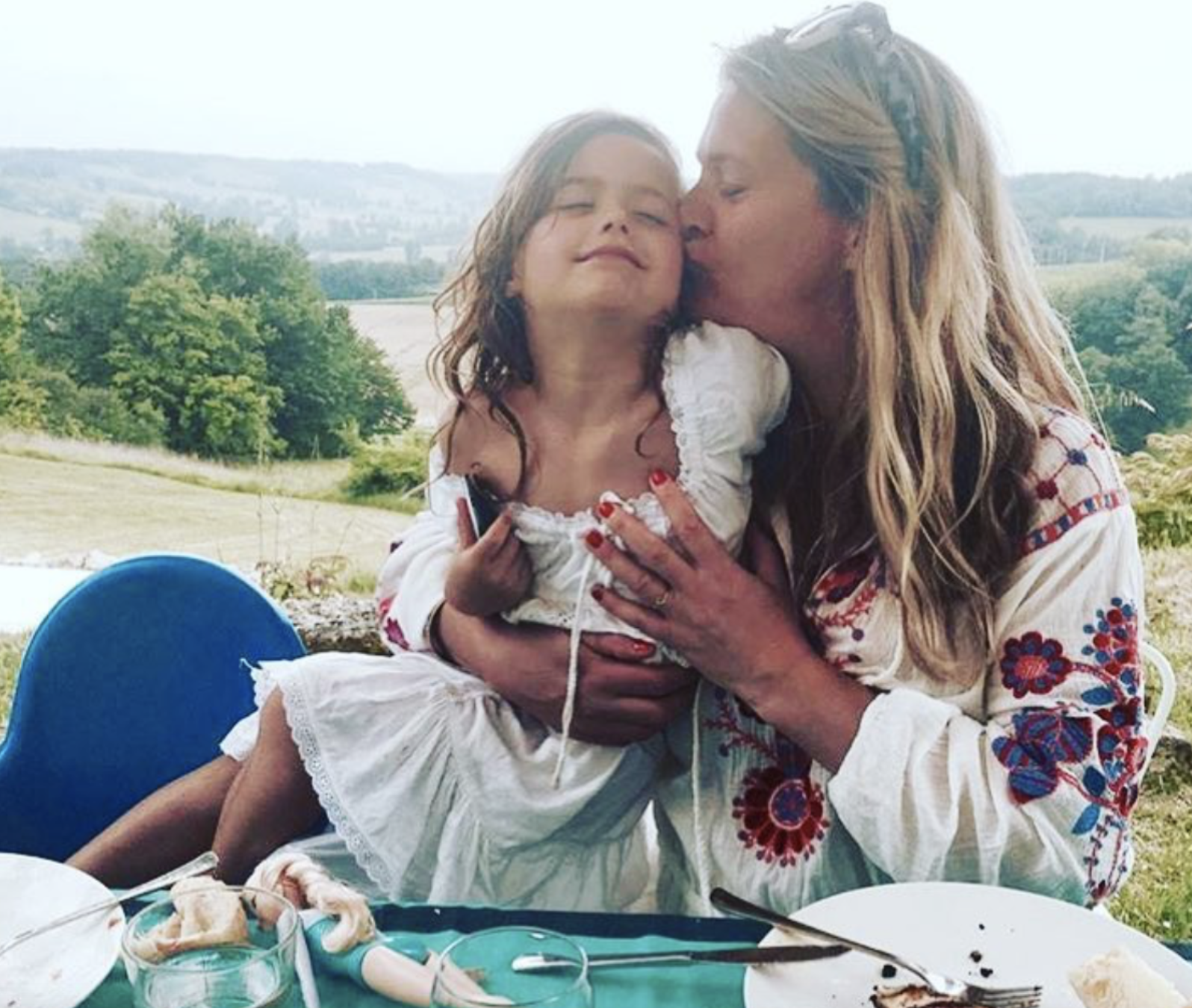 Damaris Evans with her daughter Kitty in south-west France