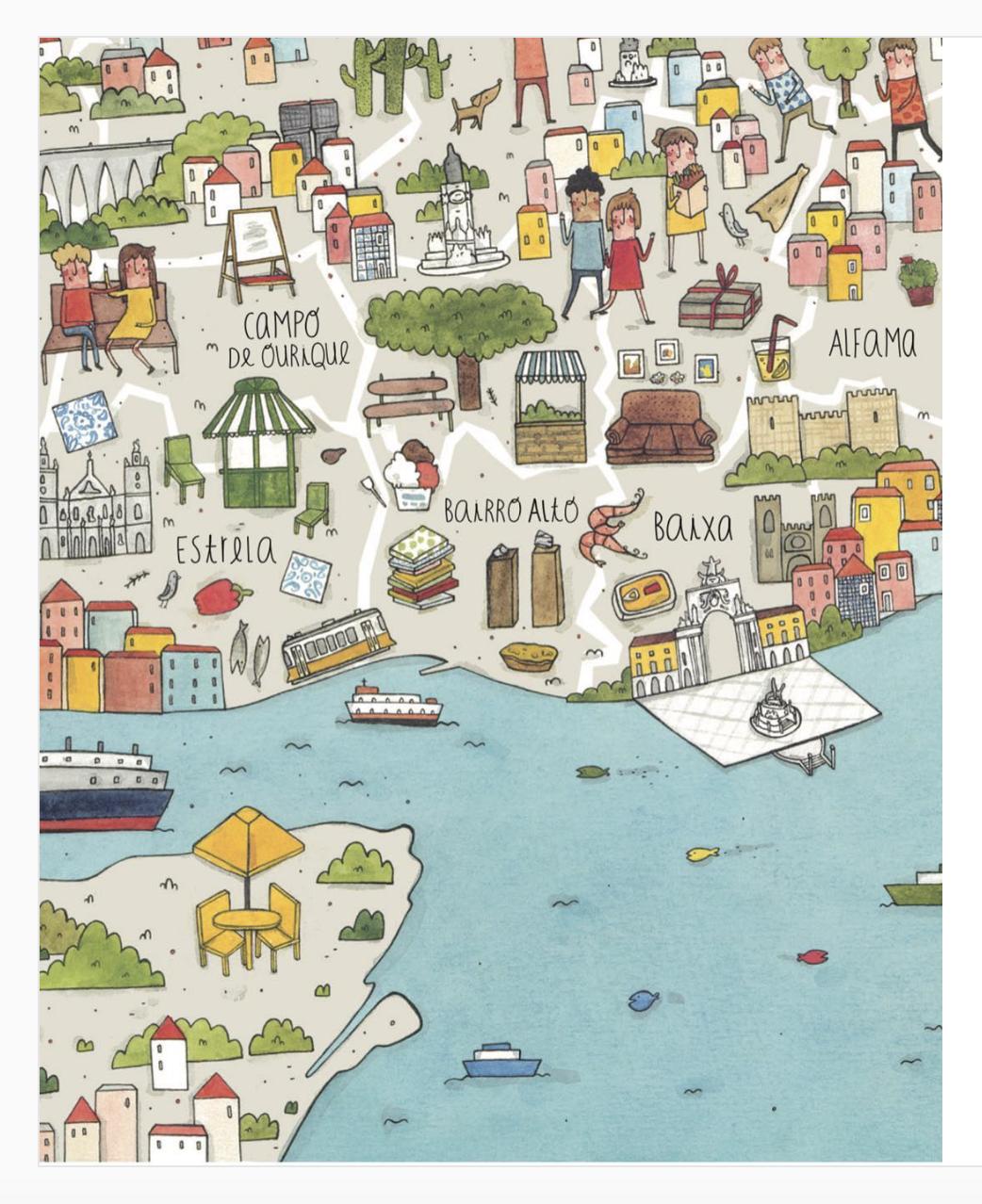 Lisbon, illustrated by Rafaela Rodrigues