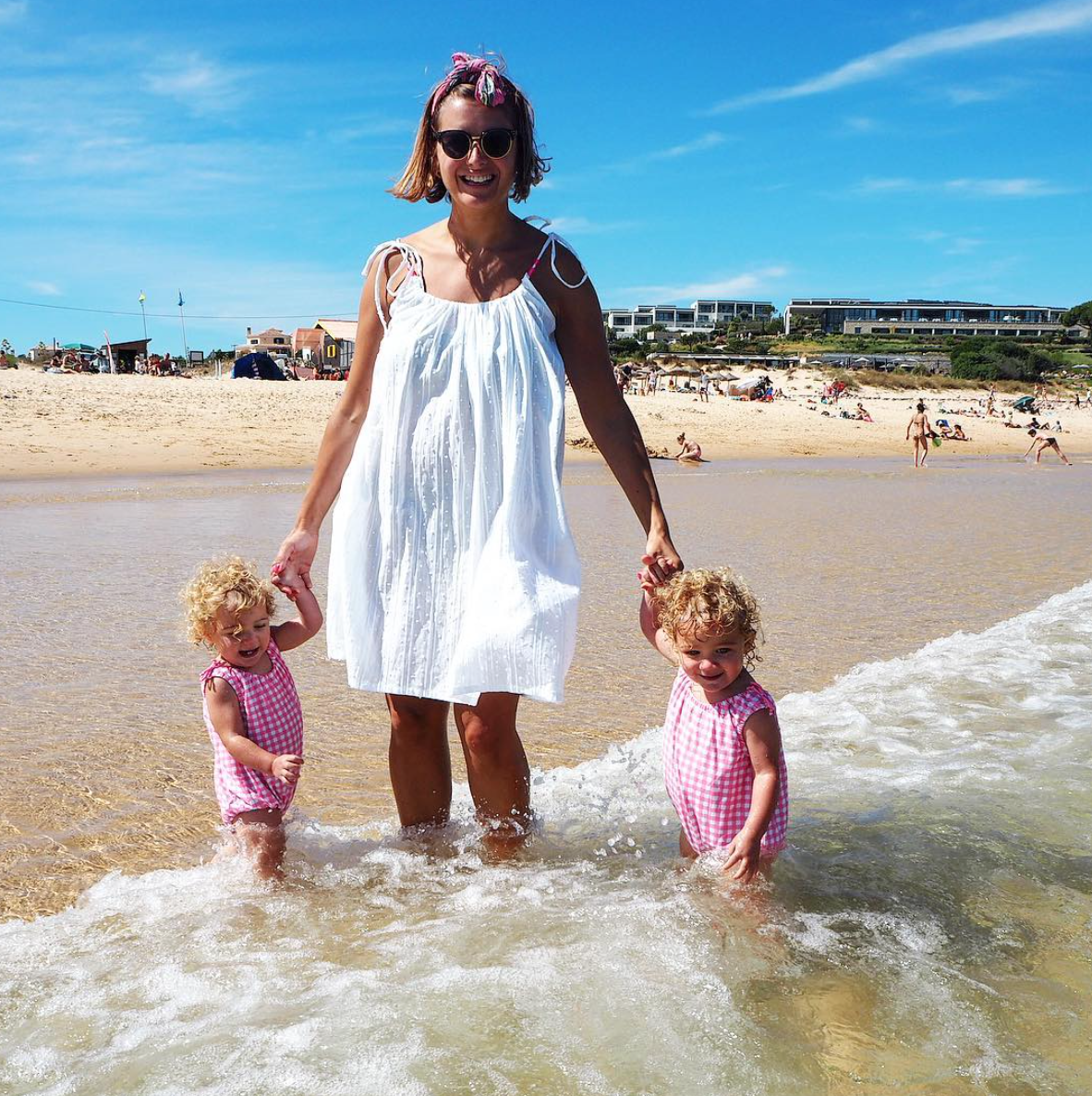 Clemmie Hooper with twins Ottilie and Delilah
