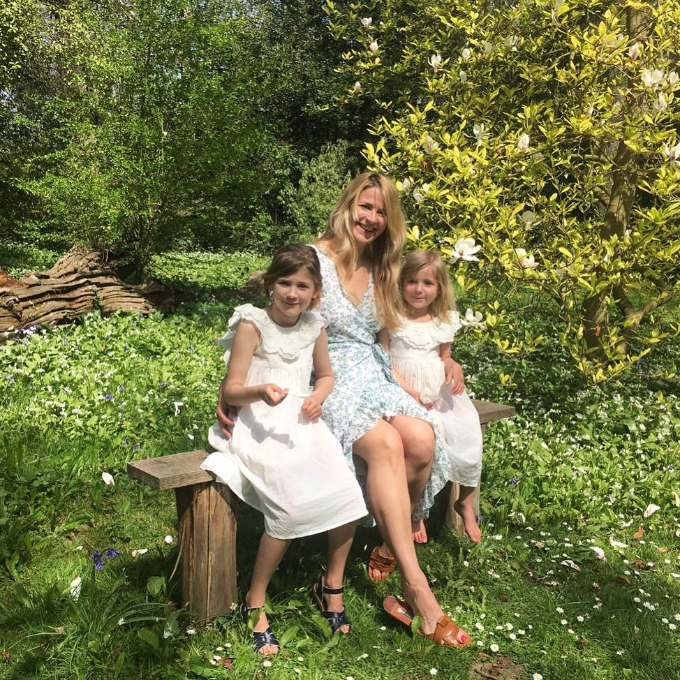 Red  editor Sarah Tomczak with her daughters Coco and Sylvie, both wearing Faune