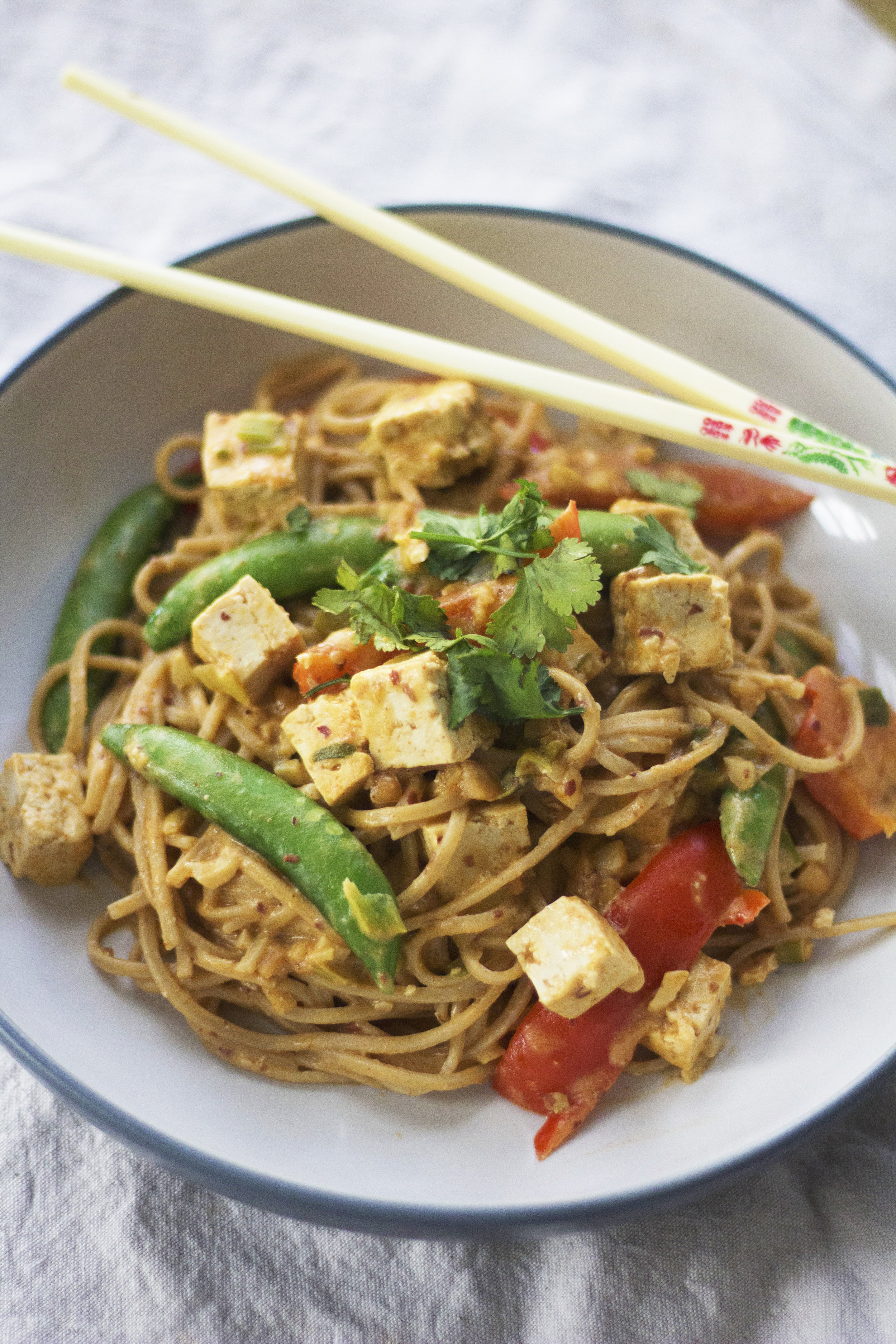 Spicy, nutty and super easy noodles. - prep time10 mins  total time20 mins  serves 2