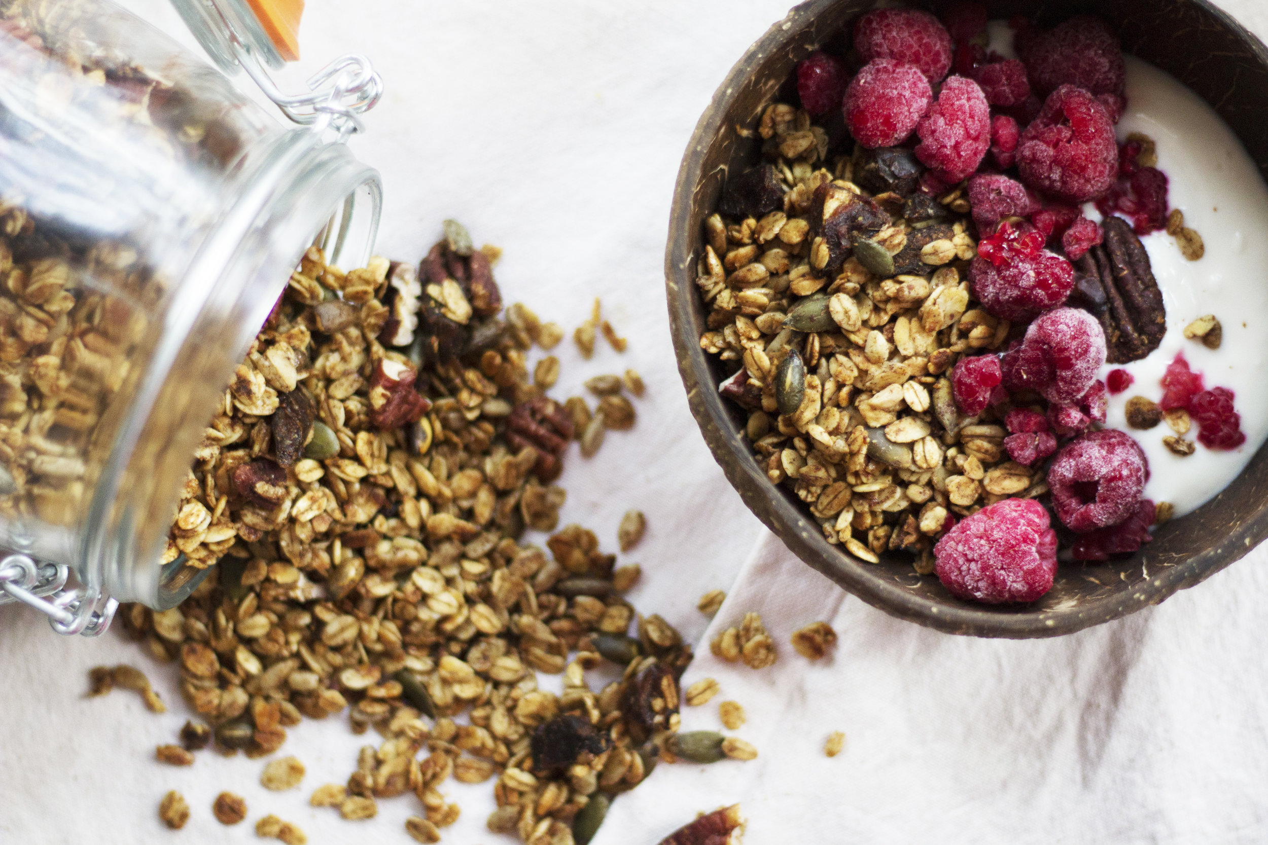 Sweet and nutty granola, perfect for breakfast or as a snack. - prep time5 mins  total time3 hours