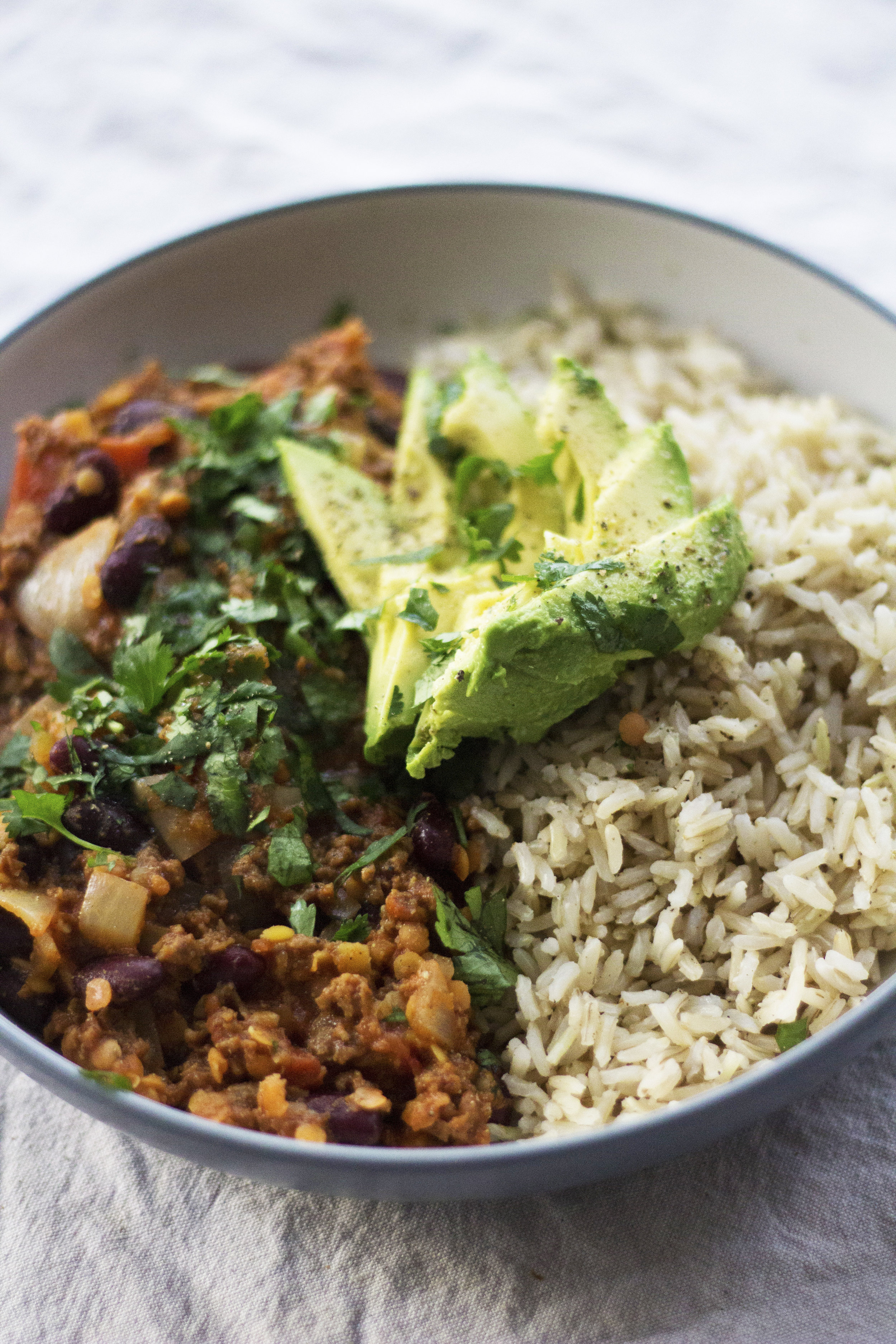 Three different plant-based proteins fill this chilli with 33g per portion. - prep time10 mins  total time50 mins  serves 4-5