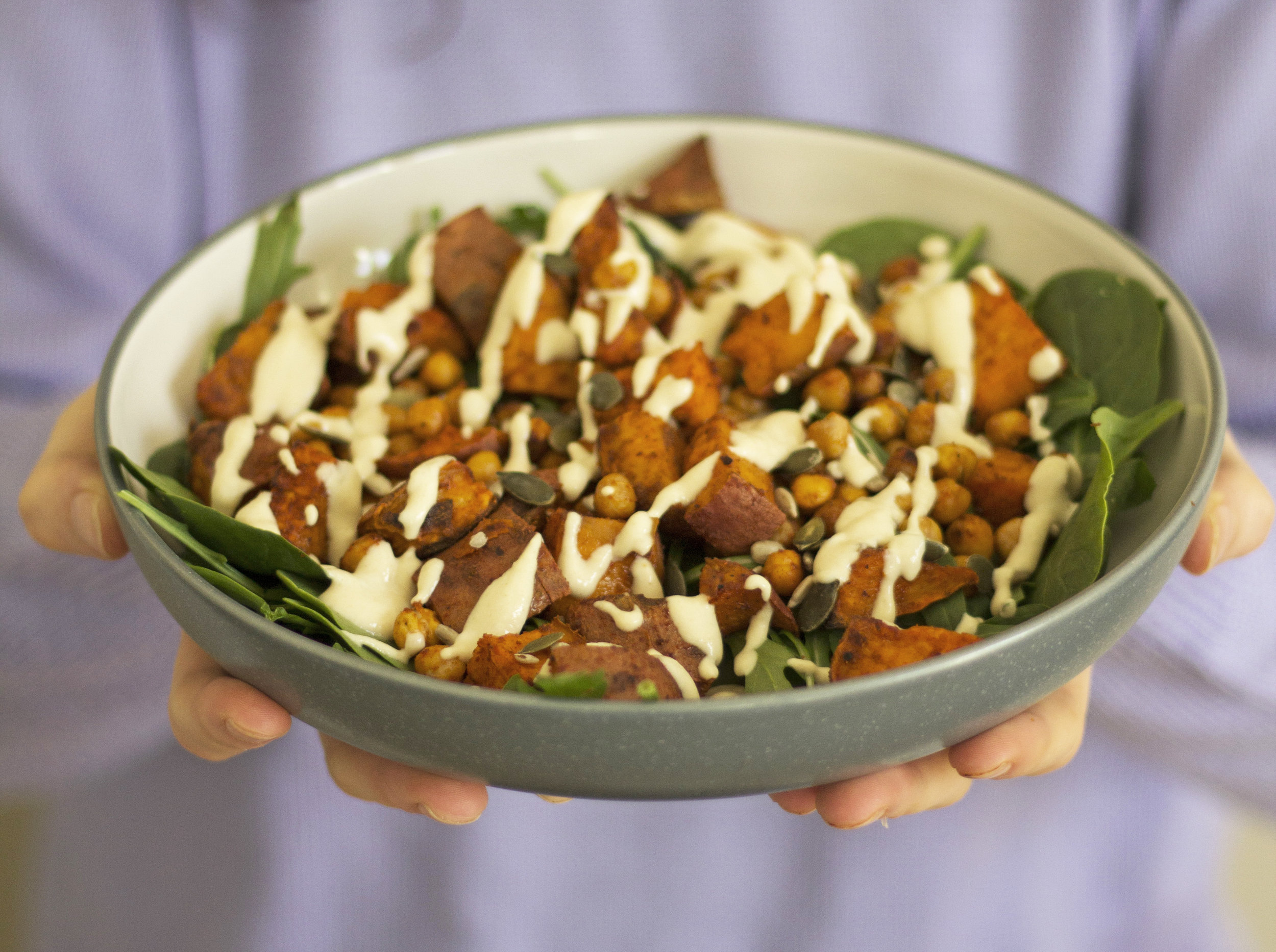 A warming and spicy salad full of health and flavour. - prep time10 mins total time35-40 mins serves 2-3