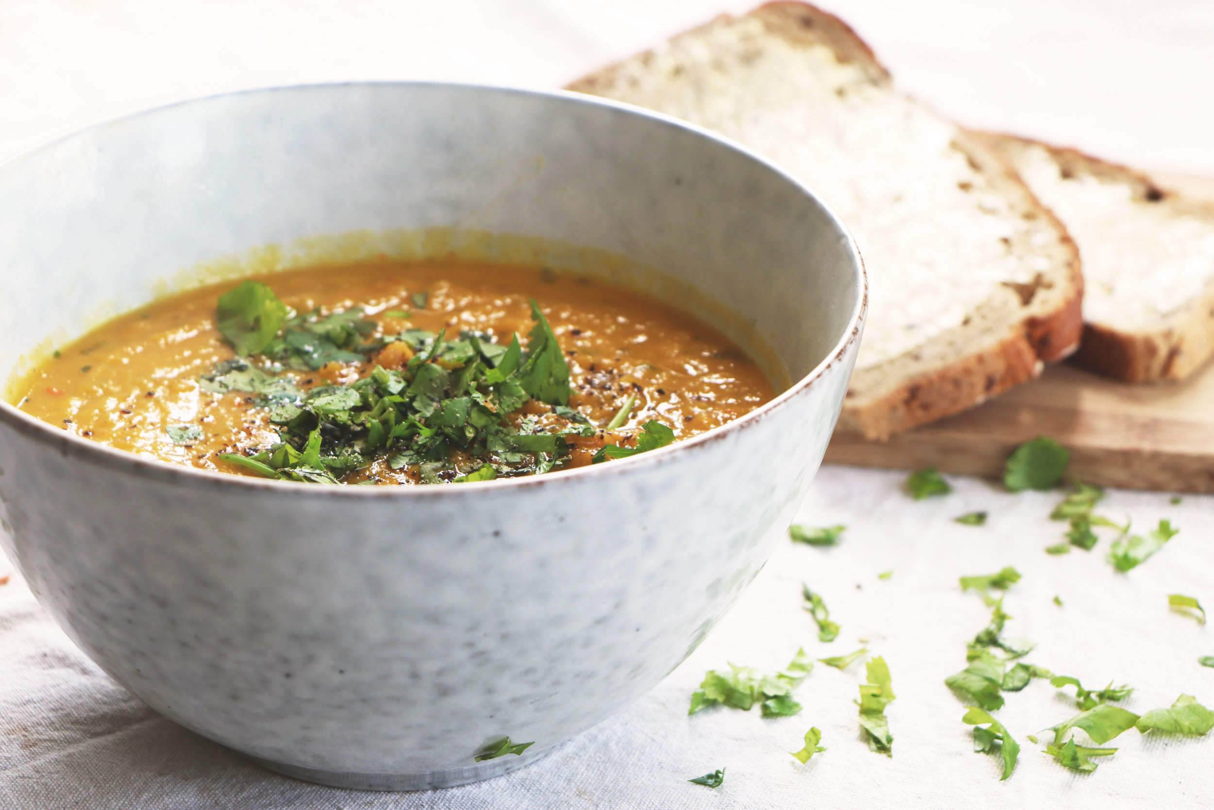 Sweet, creamy and warming, you'll be making this soup time and time again. - prep time 5 mins    total time 20 mins     serves 4-6