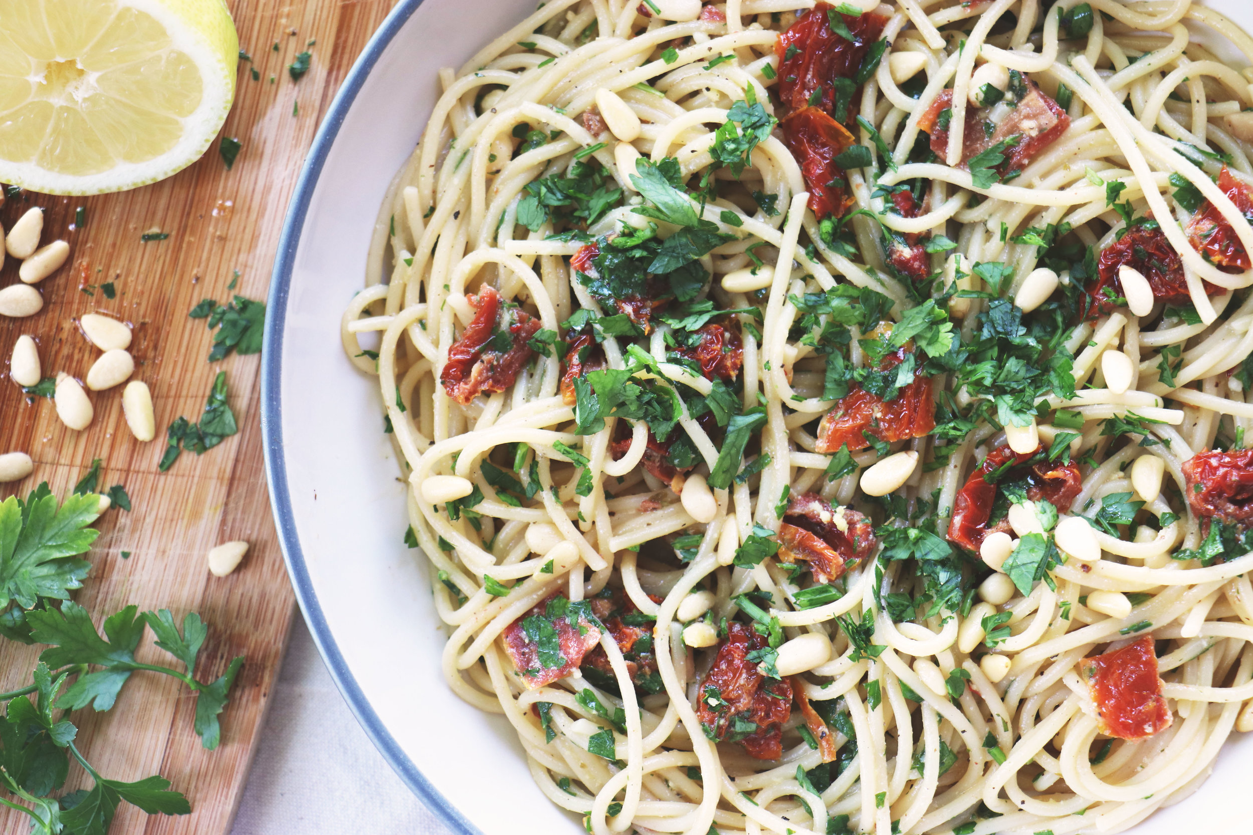 Simple dishes sometimes pack the biggest punch. Plus this is Alex's new favourite spaghetti! - prep time 5 mins  total time10 mins  serves 2