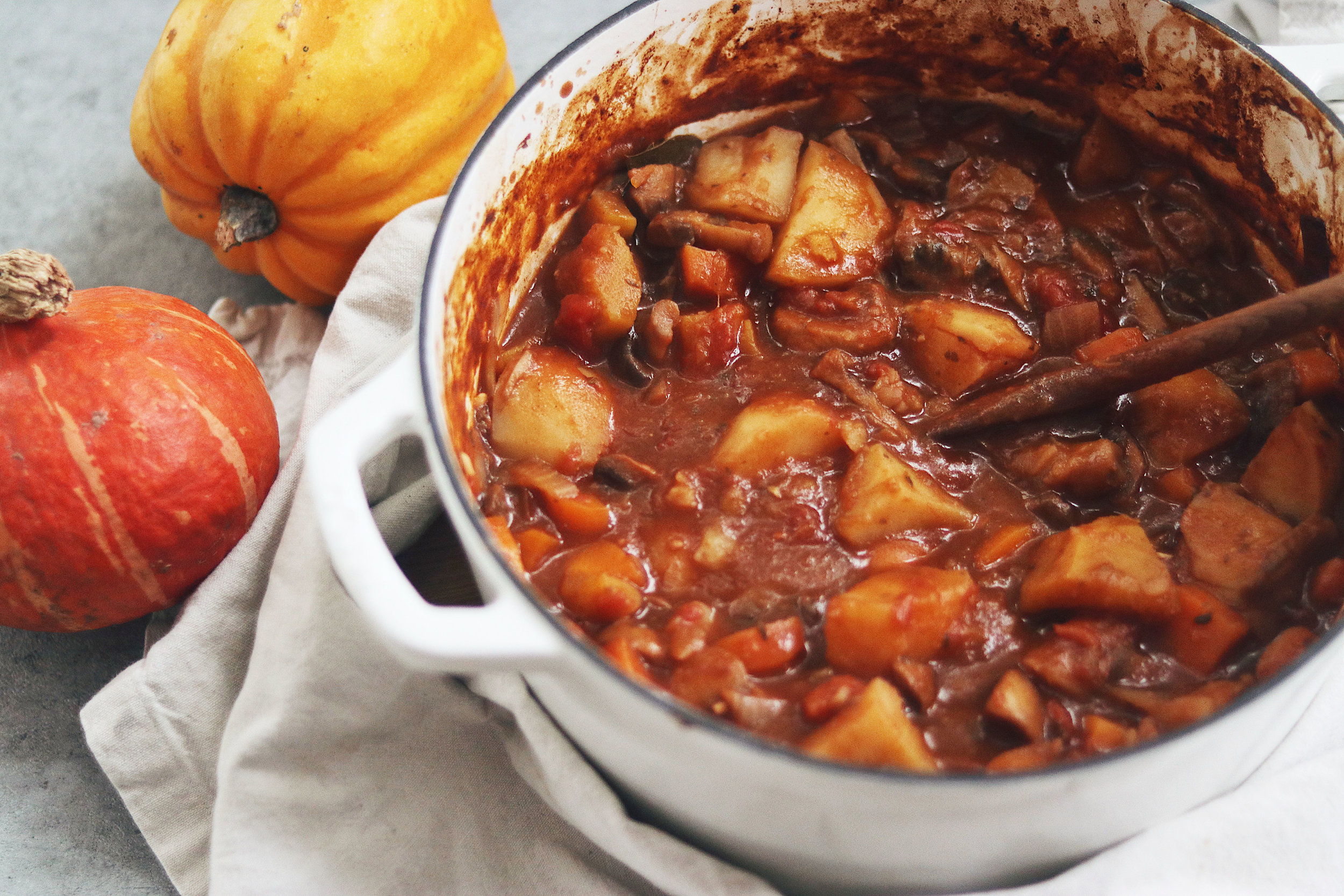 There is nothing more comforting than a delicious stew, and with the addition of pumpkin, it's perfect for fall. - prep time 20-30 mins total time 2 hours serves 4-6