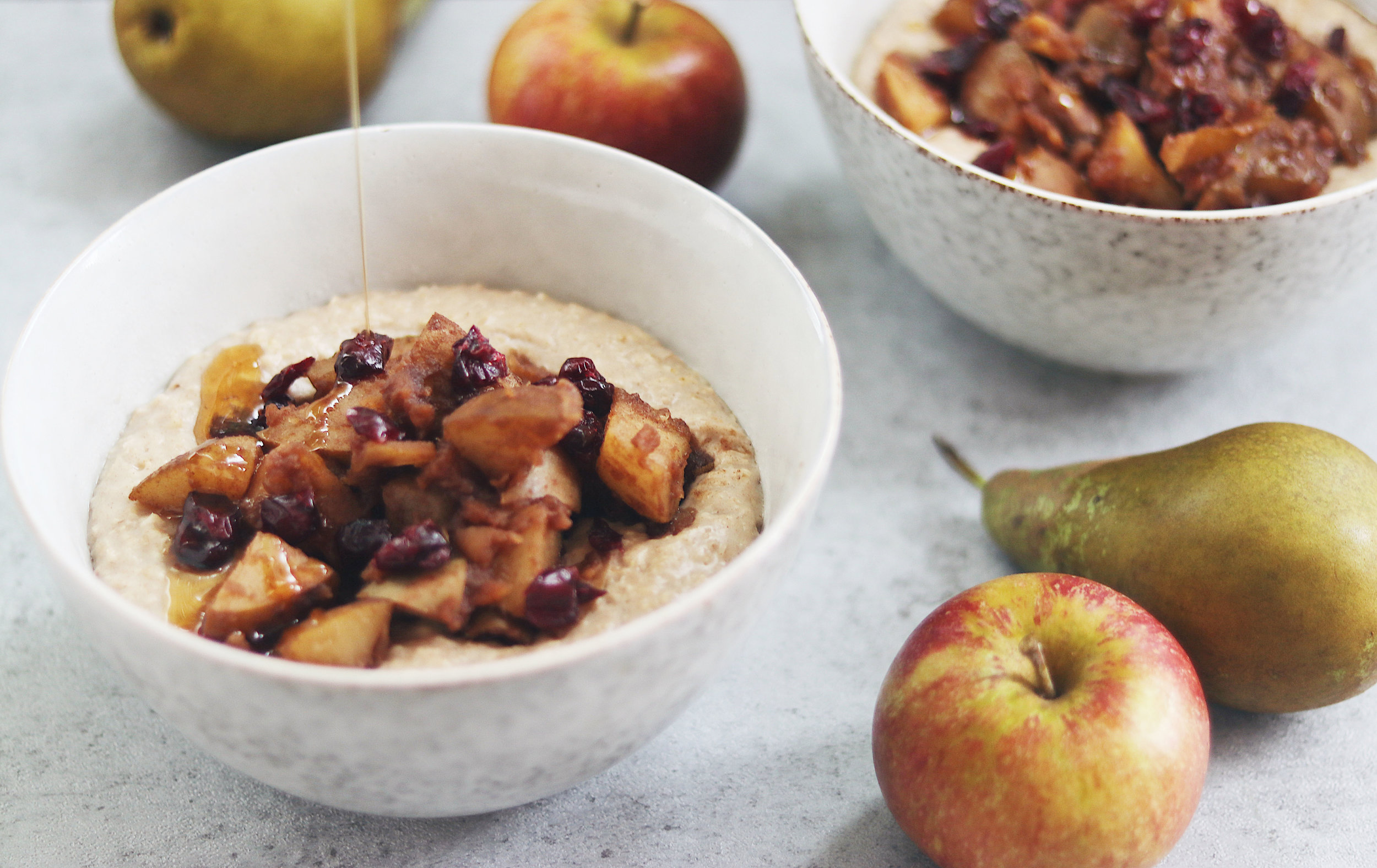 Seasonal fruits and autumnal spices are the perfect start to the day this time of year! - prep time 10 mins total time 20 mins serves 2