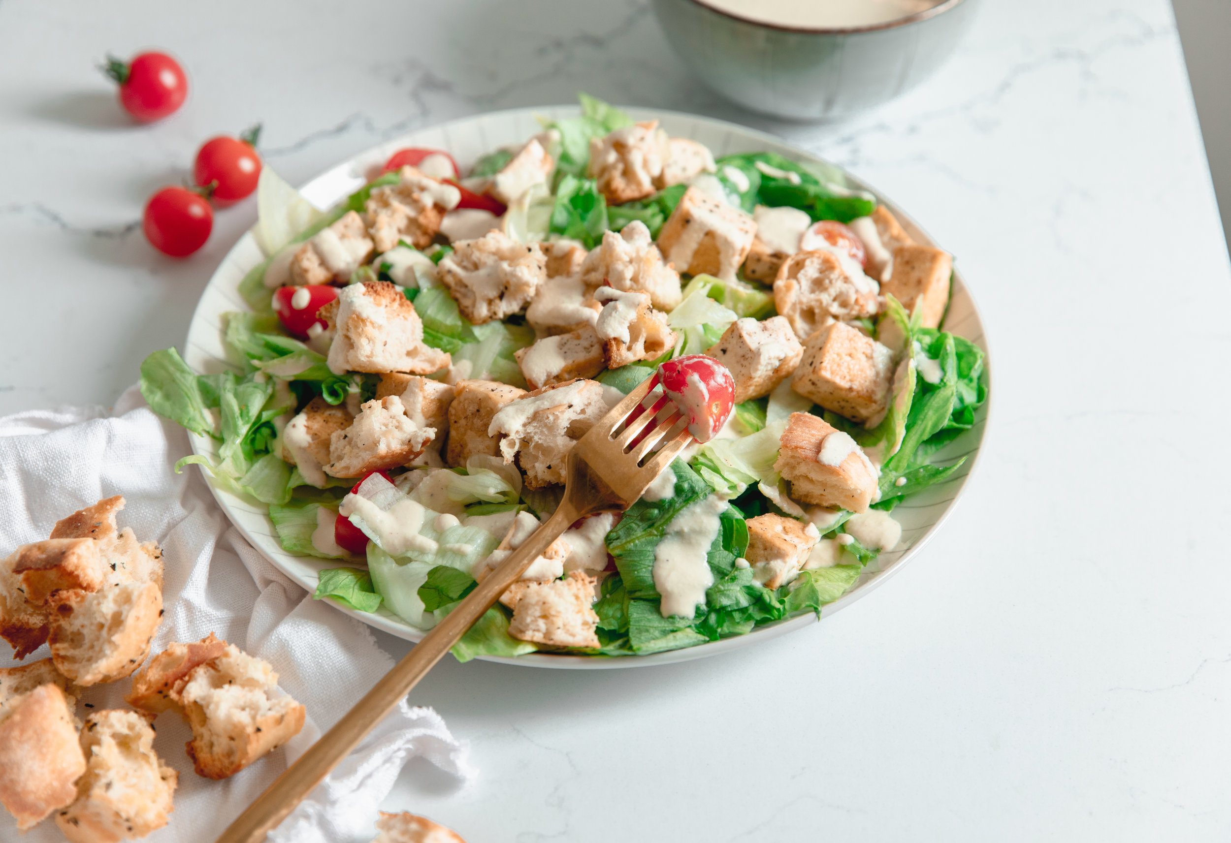 Crispy leaves, crunchy croutons, and a creamy dressing. - prep time Overnight/1 hour total time 20 minutes serves 2-3
