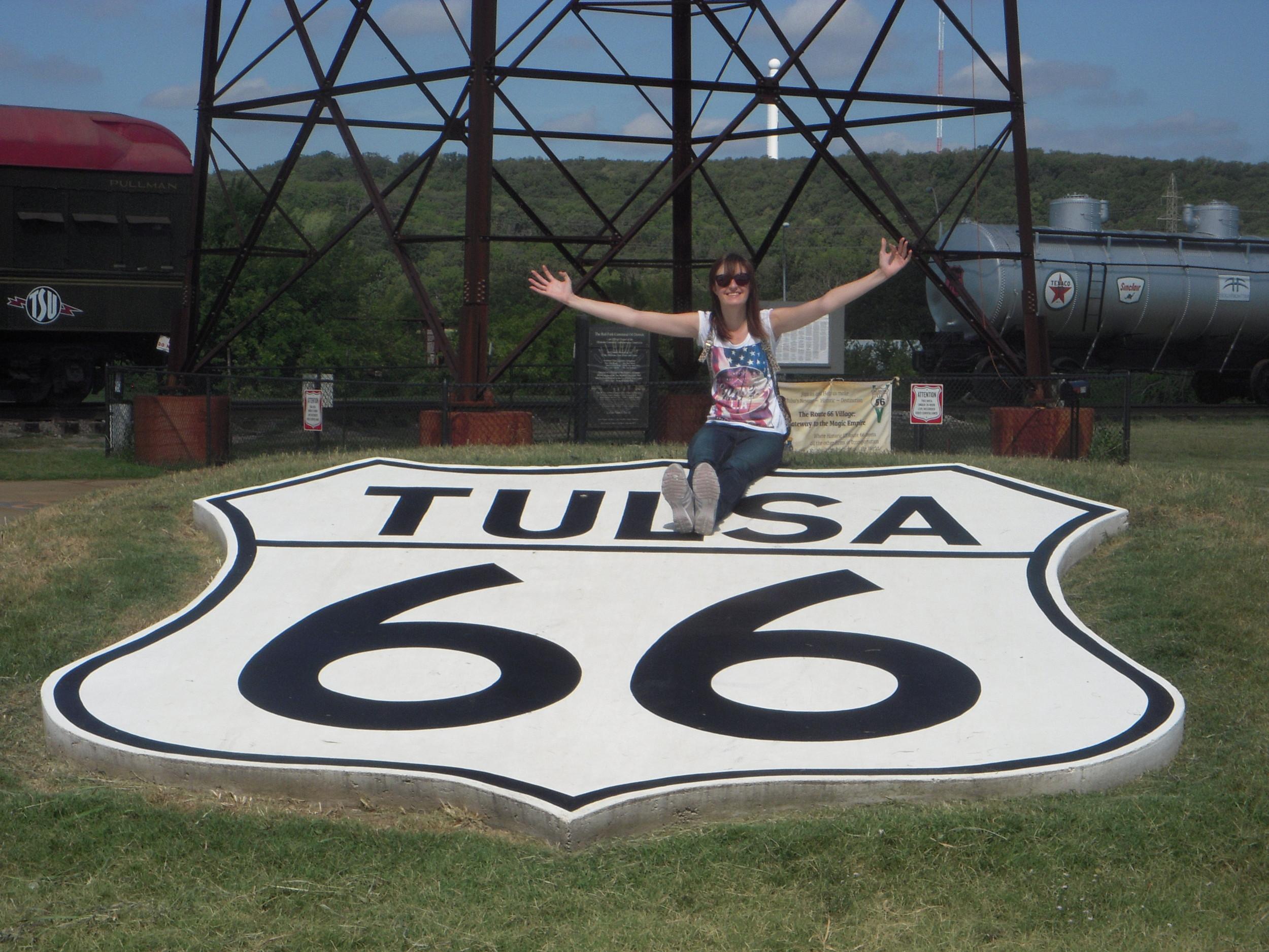 Vicki Graves on Tulsa Route 66 shield.JPG
