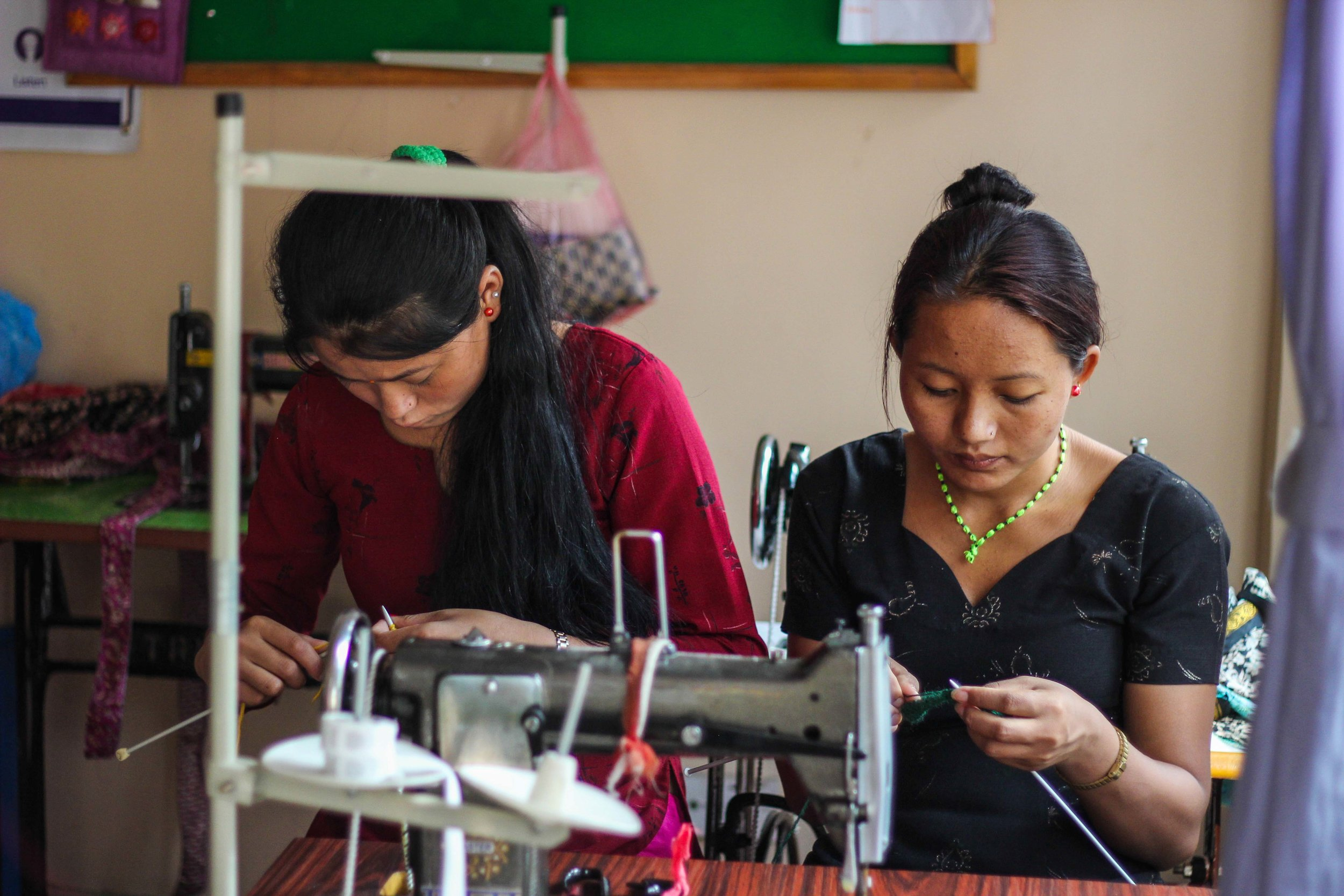 Some of the women creating beautiful products at the Seven Women Centre in Kathmandu to generate income and achieve economic independence.