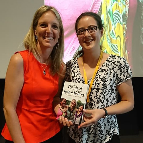 "Intern Eloise and Founder, Steph Woollard, with a signed copy of Stephs    book    "" From a Tin Shed to the United Nations"""