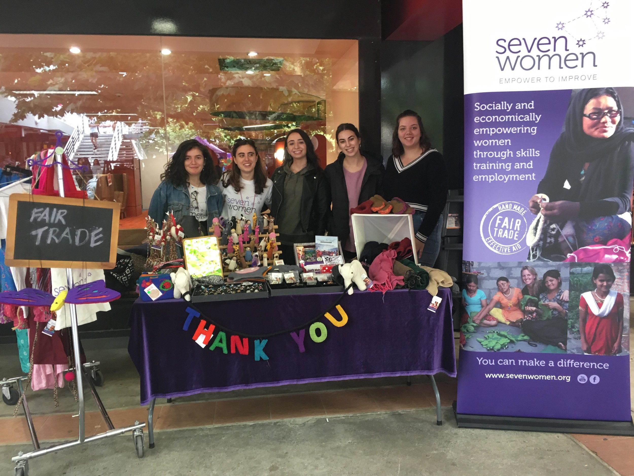 The Seven Women fair-trade stall at La Trobe University, set up every week by loyal volunteers