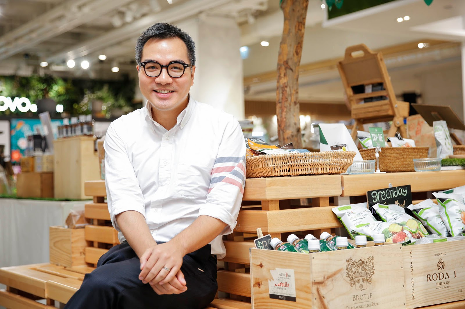 David Yeung sitting inside one of his stores, Green Common, in Hong Kong.
