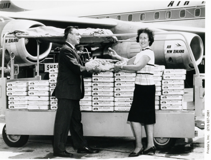 Frieda Caplan accepts her first shipment of kiwifruit. Photo courtesy of Frieda's Specialty Produce.