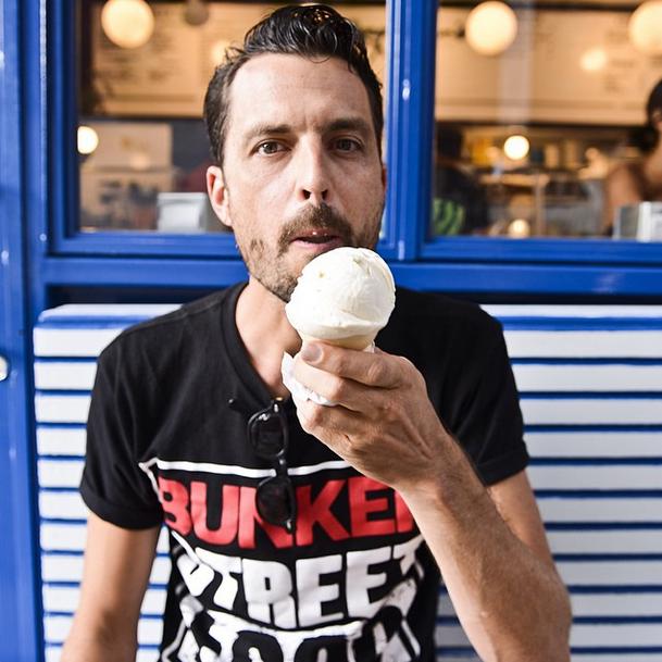 Nicholas Morgenstern of Morgenstern's Ice Cream on Rivington Street. Photo by @liz01 .