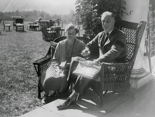 FDR and Eleanor Roosevelt at their home in Hyde Park, New York. Photo taken on September 16, 1927. Photo courtesy of the  FDR Presidential Library & Museum/Flickr.