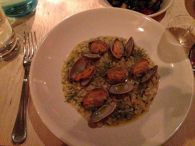 Clam risotto with fennel and lemon.