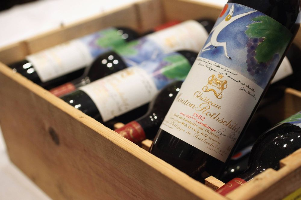 A case of Chateau Mouton Rothschild from 1982.  Photographer: Oli Scarff/Getty Images
