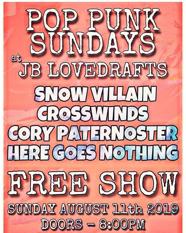 come out to JB Lovedrafts TONIGHT to see Snow Villain and other bands rockin out tonight 👏🏻👏🏻👏🏻 we'll be playing BRAND NEW songs from album 2️⃣ and beyond 👀👀👀 || •{8.11.19}• . . . . . . #snowvillain #sv #harrisburgpa #pa #harrisburg #live #jblovedrafts #corypaternoster #crosswinds #heregoesnothing #altrock #indie #indierock #alt #rock #acoustic #livemusic #album2 #albumrelease #newmusic