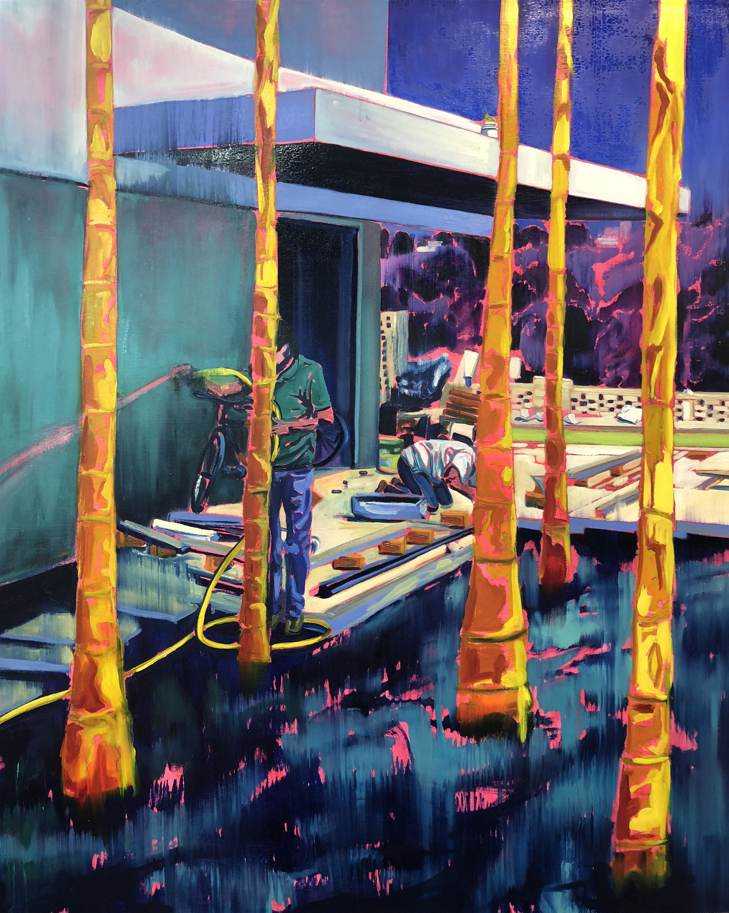 PURPLE LANDS - COPING III - OIL ON CANVAS - 4 X 5 FT  Lord Mervyn Davies -  PRIVATE COLLECTION - London