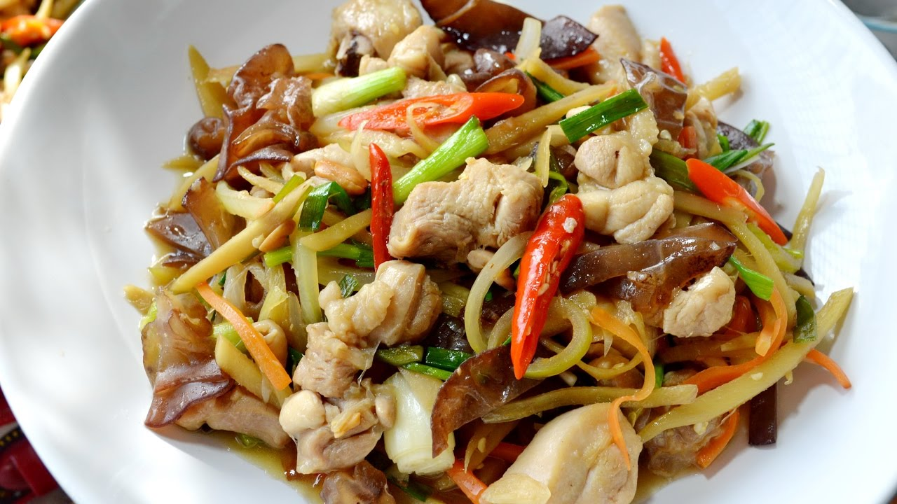 Ginger and Shiitake Mushroom Stir Fry with Chicken or Tofu - $10  Ingredients: brown sauce (oyster sauce, fish sauce, black soy sauce, sugar), chopped garlic, celery, carrots, onion, and green onion served with Jasmine rice.