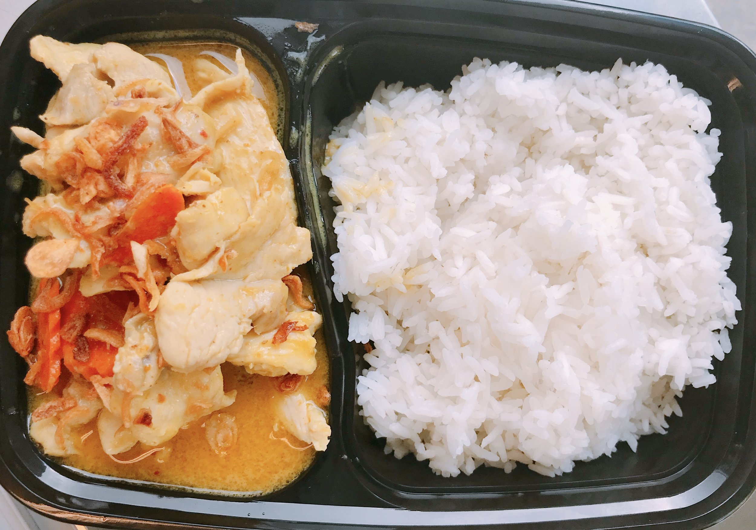 Yellow Curry with chicken or tofu - $10   Ingredients: cumin power, tumeric powder, garlic, coconut milk, tamarind sauce, slow-cooked potatoes, carrots, and onion topped with crispy onion and served with Jasmine rice.