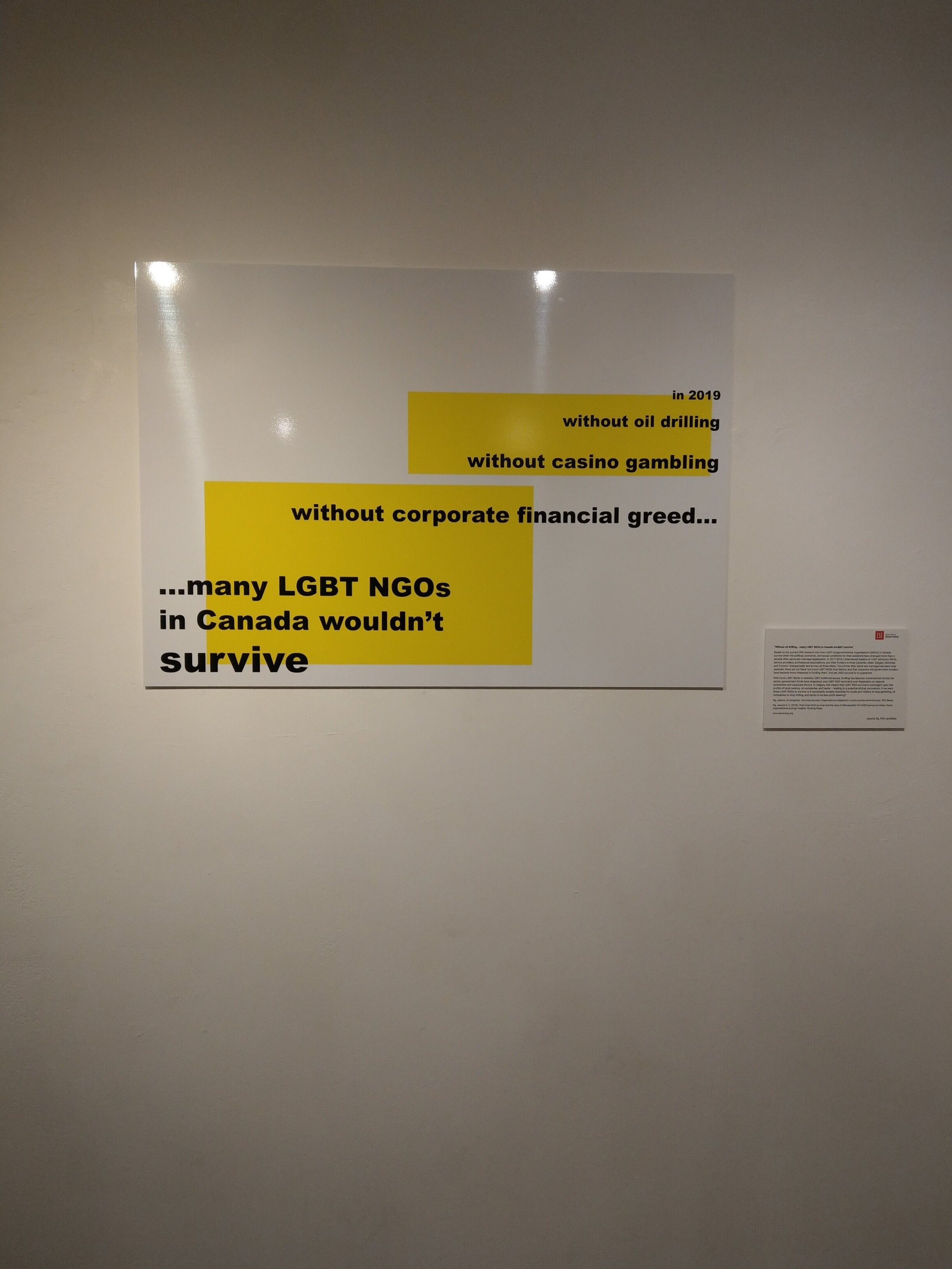 Title:  Without oil drilling… many LGBT NGOs in Canada wouldn't survive.