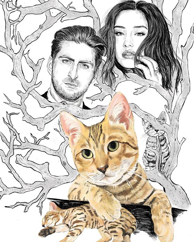 family portrait! thanks to artist Jules Centeno for drawing me, my boyfriend, and our 5.5 month old bengal kitten Potato @potatobengal