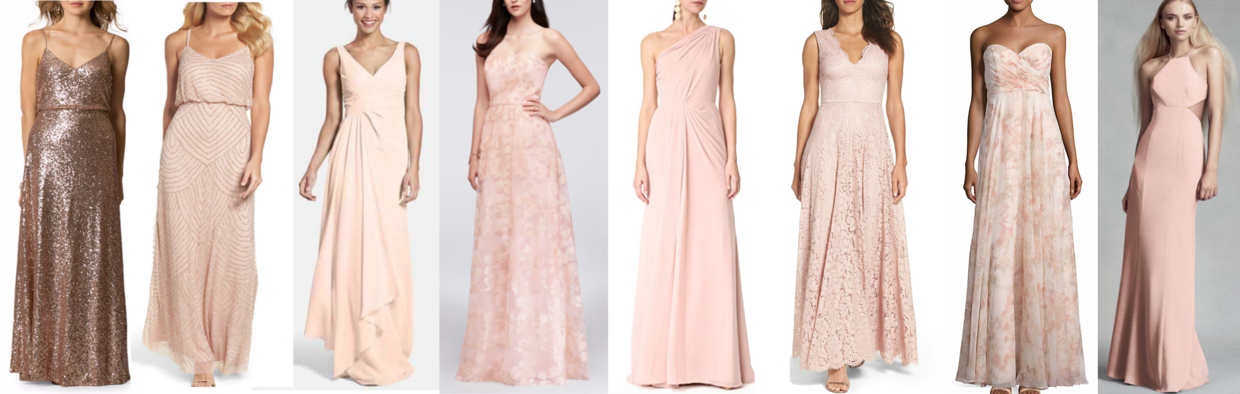 bridesmaids dresses collage