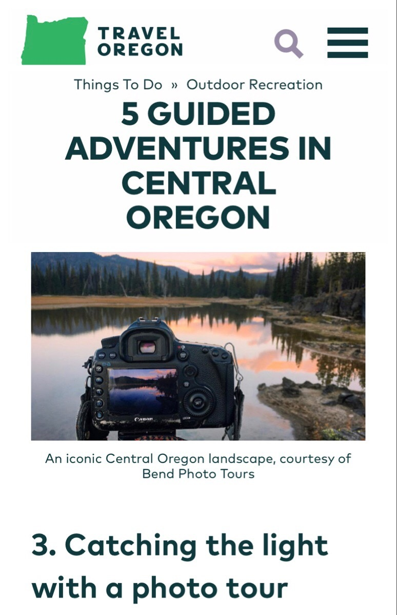 Travel Oregon Article - 5 GUIDED ADVENTURES IN CENTRAL OREGONSponsored by Visit Central Oregon