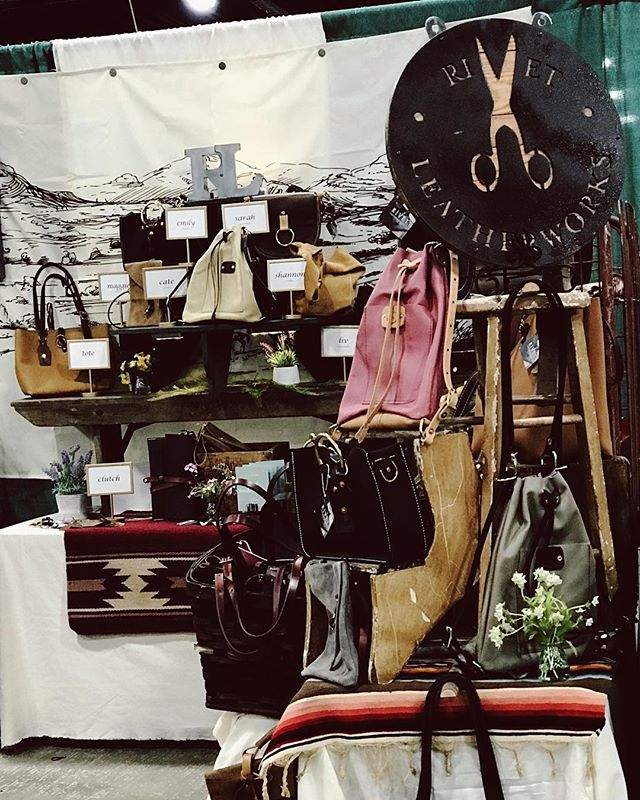 Our most recent set up! Check out our logo hiding in the back 😉 • • • #leather #fashion #handmade #style #love #instagood #designer #accessories #shoes #handcrafted #bags #leathercraft #purse #art #bag #shopping #ootd #photography #leatherwork #fashionista #handbags #instagram #leathergoods #rivetleatherworks #madeinpa #madeinusa #bof
