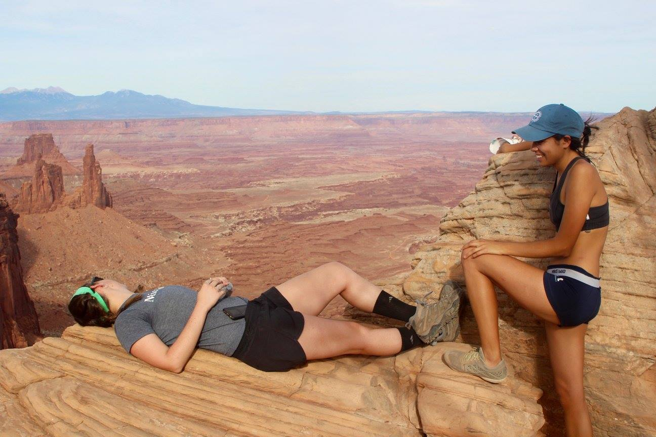 Soon-to-be-co-founders take in the view while hiking in Canyonlands National Park, Utah.
