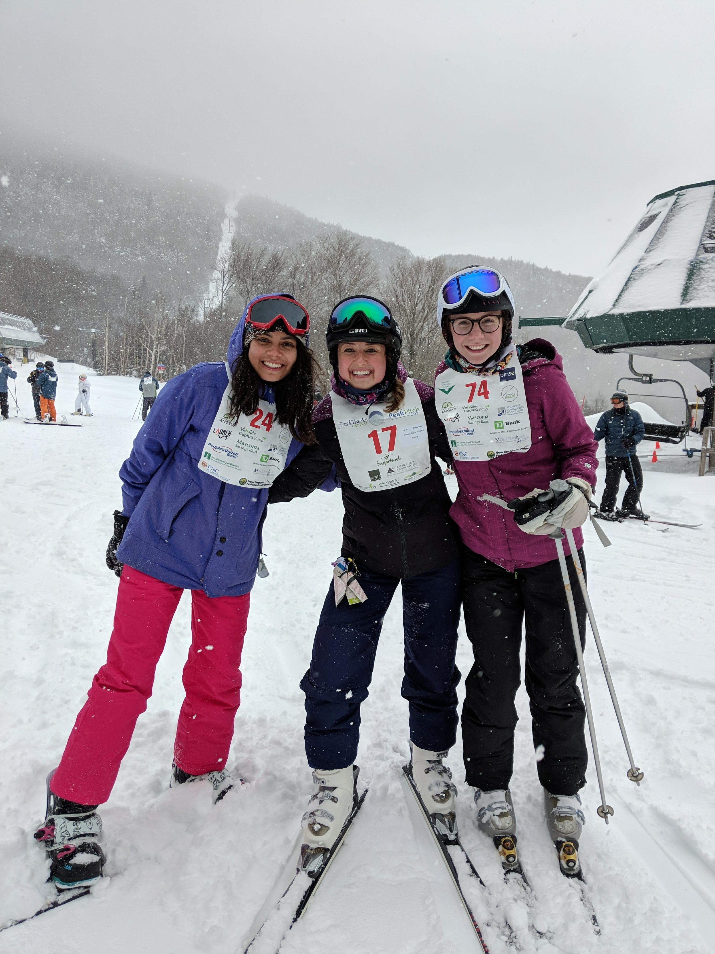 The founding team representing SheFly at Peak Pitch in Sugarbush, Vermont.
