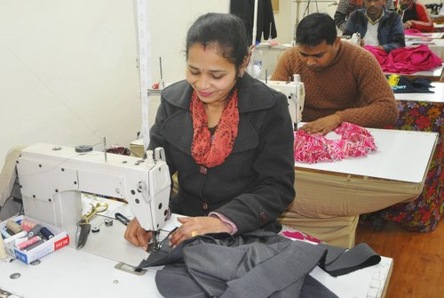 Rajni sewing SheFly prototypes.