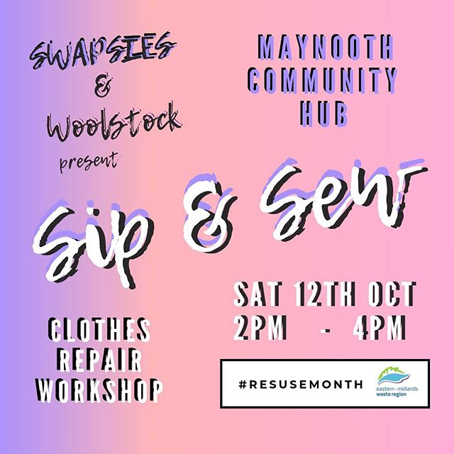🧡Join #swapsies & #Woolstock this #Saturday for a #free afternoon of creative #repair & #rewear in #maynooth Community space from 2-4pm 🧡Bring along an item of clothes you want to mend & we will show you how to #darn #repair or #stitch it 🙃 Swipe for details ➡️ 🧡There is also a chance to enter the @mywasteireland #upcyclechallenge19 competition as part of #reusemonth @swapsiesdublin will show you what to do to help you photograph your before & after images of your newly #upcycled wears #seeyouthere ✌️
